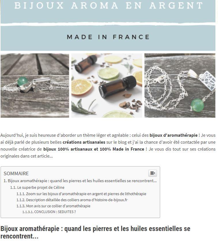 Artilcle du blog passion huiles essentielles -phe- Histoire de bijoux