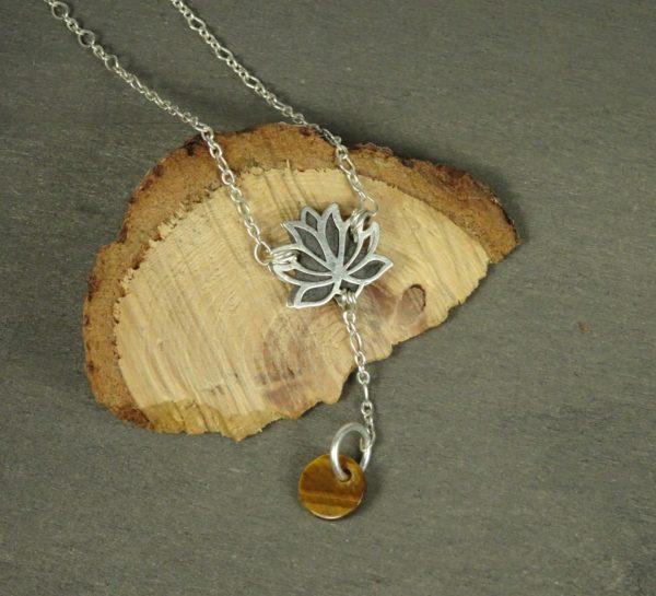 Bijoux fleur de lotus diffuseur huile essentielle oeill de tigre