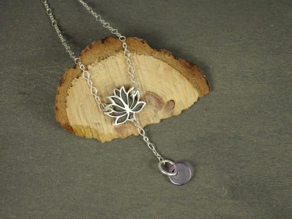 Bijoux originaux argent fleur de lotus diffuseur huile essentielle amethyste