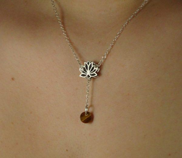 Bijoux fleur de lotus diffuseur d'huile essentielle bijou original oeil de tigre
