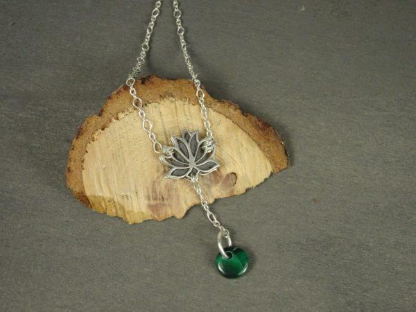 Bijoux originaux fleur de lotus diffuseur huile essentielle vert