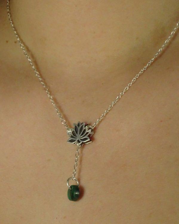 Bijoux originaux fleur de lotus malachite histoire de bijoux